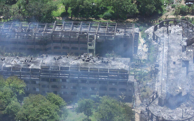 An aerial view of the Paradise Hotel in Kikambala, near Mombasa, Kenya is seen Thursday Nov. 28 , 2002 after it was devastated in an explosion. In simultaneous attacks on Israeli tourists in Kenya, a car bomb exploded at the Israeli-owned hotel on Thursday, killing 13 people, and at two missiles were fired at, but missed, an Israeli airliner that had just departed the city of Mombasa. (AP Photo/Karel Prinsloo)