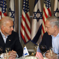 Then-US vice president Joe Biden, left, and Prime Minister Benjamin Netanyahu, right, talk before a dinner at the Prime Minister's Residence in Jerusalem, March 9, 2010. (AP Photo/Baz Ratner, Pool)