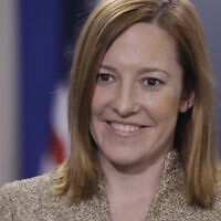 White House Deputy Communications Director Jen Psaki is interviewed in the James Brady Press Briefing Room at the White House in Washington, Feb. 16, 2011. (AP Photo/Charles Dharapak)