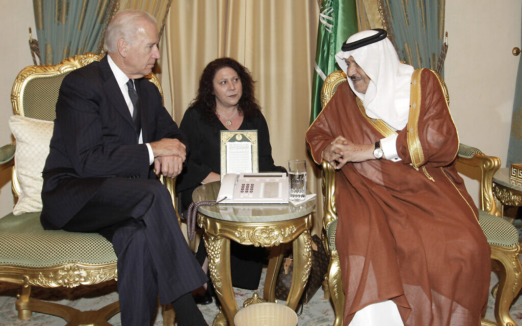 Then-US vice president Joe Biden, left, offers his condolences to Saudi Interior Minister Prince Nayef bin Abdul-Aziz Al Saud, upon the death of  Saudi Crown Prince Sultan bin Abdul-Aziz Al Saud, in Riyadh, Saudi Arabia, October 27, 2011. (AP Photo/Hassan Ammar)