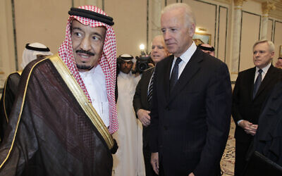 US Vice President Joe Biden, right, offers his condolences to Prince Salman bin Abdel-Aziz upon the death of his brother Saudi Crown Prince Sultan bin Abdul-Aziz Al Saud, at Prince Sultan palace in Riyadh, Saudi Arabia, October 27, 2011. (AP Photo/Hassan Ammar, File)