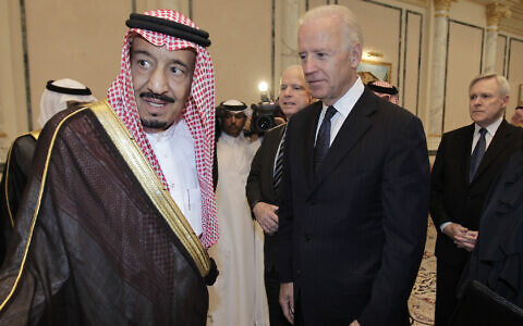 Then-US vice president Joe Biden, right, offers his condolences to Prince Salman bin Abdel-Aziz upon the death of on his brother Saudi Crown Prince Sultan bin Abdul-Aziz Al Saud, at Prince Sultan palace in Riyadh, Saudi Arabia, October 27, 2011 . (AP Photo/Hassan Ammar, File)