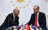 US Vice President Joe Biden, left, and Turkish President Recep Tayyip Erdogan shake hands after a meeting in Ankara, Turkey, August 24, 2016. (Kayhan Ozer, Presidential Press Service Pool via AP)
