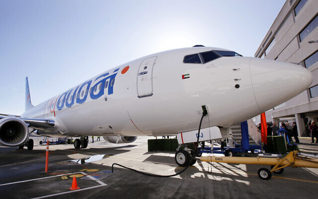 In this Oct. 27, 2010 file photo, a Boeing 737 being delivered to FlyDubai is seen in Seattle (AP Photo/Elaine Thompson, File)