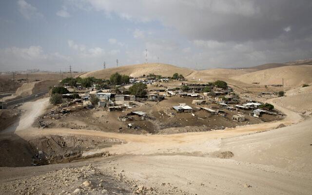 The West Bank Bedouin village of Khan al-Ahmar, on October 21, 2018. (Majdi Mohammed/AP)