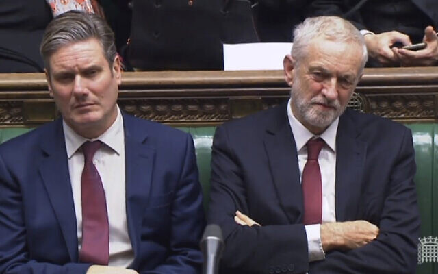 Illustrative: Keir Starmer, left, and Jeremy Corbyn at the House of Commons in London, Monday November 26, 2018 (House of Commons / PA via AP)