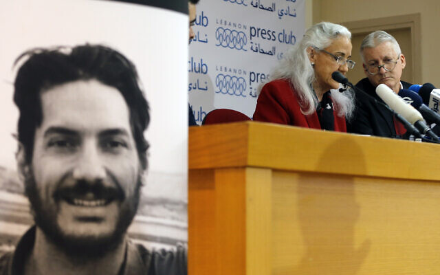 Marc and Debra Tice, the parents of Austin Tice, who is missing in Syria for nearly six years, speak during a press conference, at the Press Club, in Beirut, Lebanon, Dec. 4, 2018 (AP Photo/Bilal Hussein)
