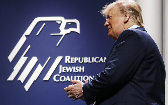 US President Donald Trump arrives to speak at the Republican Jewish Coalition's annual leadership meeting, Saturday April 6, 2019, in Las Vegas. (AP Photo/Jacquelyn Martin)