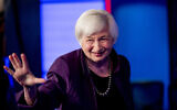 Former Fed Chair Janet Yellen appears for an interview with FOX Business Network in the Fox Washington bureau, in Washington, August 14, 2019. (Andrew Harnik/AP)