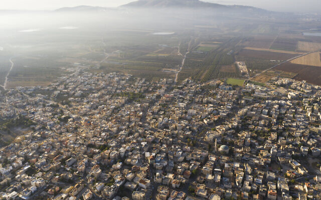 In this September 27, 2019 photo, a general view of the Israeli Arab village of Iksal near Nazareth, in northern Israel. (AP/Oded Balilty)