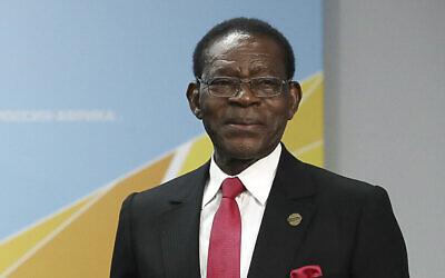 President of Equatorial Guinea Teodoro Obiang Nguema Mbasogo at the Russia-Africa summit in the Black Sea resort of Sochi, Russia, Oct. 24, 2019. (Valery Sharifulin, TASS News Agency Pool Photo via AP)