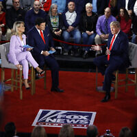 US President Donald Trump speaks during a FOX News Channel Town Hall, co-moderated by FNC's chief political anchor Bret Baier of Special Report and The Story anchor Martha MacCallum, in Scranton, Pennsylvania, March 5, 2020. (AP Photo/Matt Rourke)