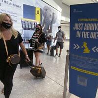 Illustrative -- Passengers arrive at Heathrow Airport, Sept. 8, 2020 (Yui Mok/PA via AP)