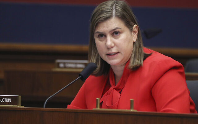 Rep. Elissa Slotkin, Demcrat-Michigan, questions witnesses during a House Committee on Homeland Security on Capitol Hill, Washington, September 17, 2020. (Chip Somodevilla/Pool via AP)