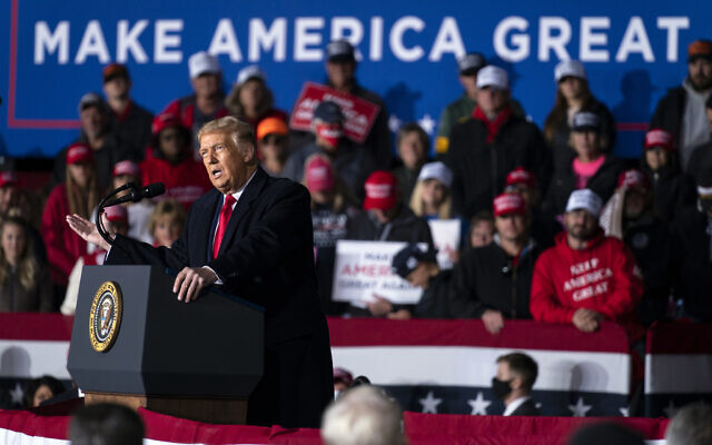 US President Donald Trump speaks during a campaign rally at Central Wisconsin Airport, in Mosinee, Wisconsin, September 17, 2020. (Evan Vucci/AP)