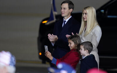 Ivanka Trump and her husband Jared Kushner and their children Arabella and Joseph watch as President Donald Trump speaks at a campaign rally, Tuesday, Sept. 22, 2020, in Moon Township, Pa. (AP Photo/Keith Srakocic)