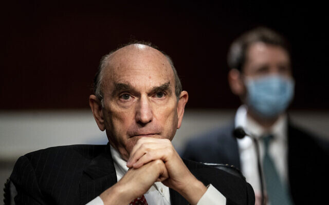 Elliot Abrams, special representative for Iran and Venezuela at the State Department, attends a Senate Committee on Foreign Relations hearing on US Policy in the Middle East, Thursday, Sept. 24, 2020 on Capitol Hill in Washington. (Erin Schaff/The New York Times via AP, Pool)