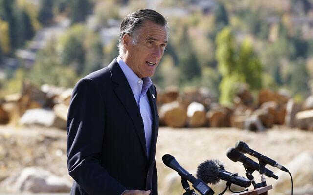 Sen. Mitt Romney, R-Utah, speaks during a news conference Thursday, Oct. 15, 2020, near Neffs Canyon, in Salt Lake City.  (AP Photo/Rick Bowmer)