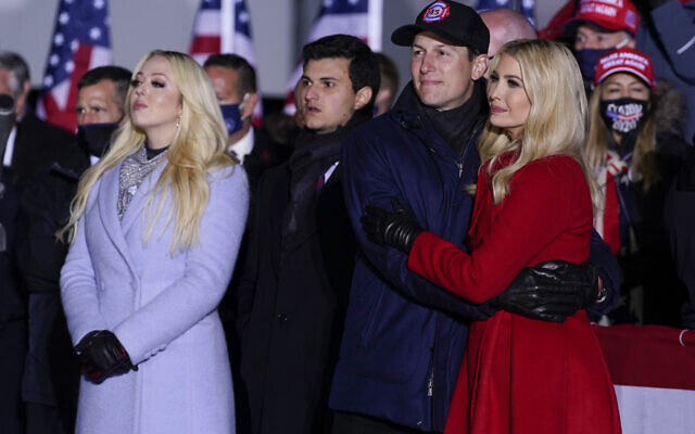 Tiffany Trump and Ivanka Trump and her husband Jared Kushner listen as US President Donald Trump speaks during a campaign rally at Kenosha Regional Airport, Monday, Nov. 2, 2020, in Kenosha, Wis. (AP Photo/Evan Vucci)