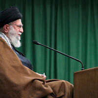 Iran's Supreme Leader Ayatollah Ali Khamenei addresses the nation in a televised speech marking the birthday of Islam's Prophet Muhammad, in Tehran, Iran, November 3, 2020. (Office of the Iranian Supreme Leader via AP)