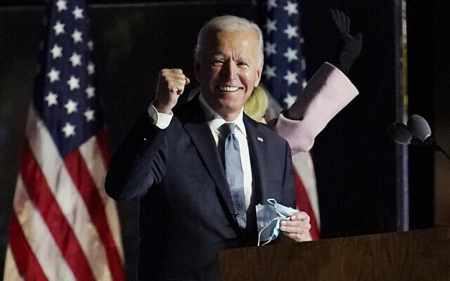 Democratic presidential candidate former US Vice President Joe Biden speaks to supporters, November 4, 2020, in Wilmington, Delaware. (AP Photo/Paul Sancya)
