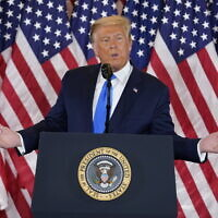 US President Donald Trump speaks in the East Room of the White House, November 4, 2020, in Washington. (AP Photo/Evan Vucci)