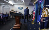 US President Donald Trump walks away after speaking at the White House, Nov. 5, 2020, in Washington. (AP Photo/Evan Vucci)