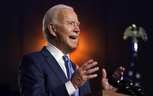 Democratic presidential candidate former Vice President Joe Biden speaks Nov. 6, 2020, in Wilmington, Del. (AP Photo/Carolyn Kaster)