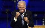 US President-elect Joe Biden gestures to supporters in Wilmington, Delaware, November 7, 2020. (Andrew Harnik/AP)