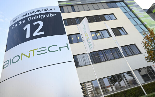 "Exterior view of the headquarters of the German biotechnology company ""BioNTech"" pictured in Mainz, Germany, Monday, Nov. 9, 2020. (Arne Dedert/dpa via AP)"