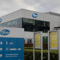 A general view of Pfizer Manufacturing Belgium in Puurs, Belgium, Monday, Nov. 9, 2020 (AP Photo/Virginia Mayo)