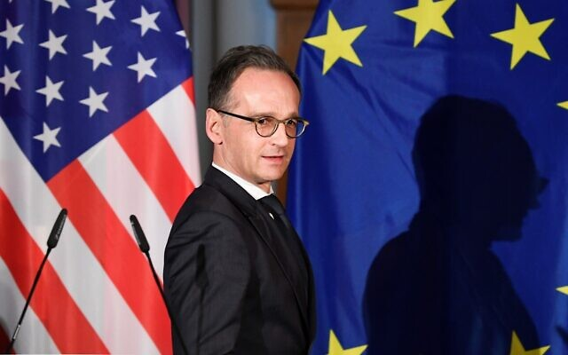 German Foreign Minister Heiko Maas arrives for a news conference with United States Secretary of State Mike Pompeo in Leipzig, Germany, November 7, 2019. (AP Photo/Jens Meyer, file)