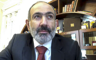 This screen grab taken from video published on Armenian Prime Minister Nikol Pashinian's official FaceBook page shows Armenian Prime Minister Nikol Pashinian addressing the nation from an unknown location in Armenia, November 11, 2020 (@nikol.pashinyan, Armenian Prime Minister official Facebook account via AP)