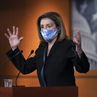 House Speaker Nancy Pelosi, a California Democrat, meets with reporters on Capitol Hill in Washington, November 13, 2020. (AP Photo/J. Scott Applewhite)