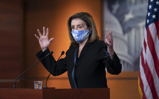 House Speaker Nancy Pelosi, a California Democrat, meets with reporters on Capitol Hill in Washington, November 13, 2020. (AP Photo/J. Scott Applewhite)