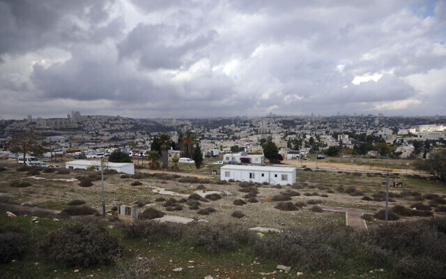 A general view of the Givat Hamatos settlement in east Jerusalem, on Sunday, Nov. 15, 2020. (AP Photo/Mahmoud Illean)