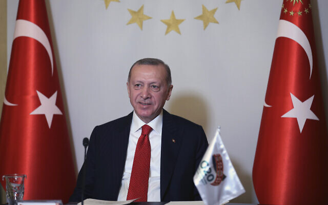 Turkey's President Recep Tayyip Erdogan addresses the leaders of the G20 Leaders' Summit with an introductory video message from his Vahdettin Pavilion, in Istanbul, November 21, 2020. (Turkish Presidency via AP, Pool)
