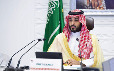 Saudi Arabia's Crown Prince Mohammed bin Salman attends a virtual G-20 summit held over video conferencing, in Riyadh, Saudi Arabia, November 22, 2020. (Bandar Aljaloud/Saudi Royal Palace via AP)