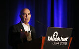 Then-deputy secretary of Homeland Security Alejandro Mayorkas speaks at the Black Hat conference, in Las Vegas, on August 6, 2015. (AP Photo/John Locher, File)