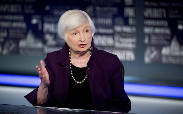 Former Fed Chair Janet Yellen speaks with FOX Business Network guest anchor Jon Hilsenrath in the Fox Washington bureau in Washington, August 14, 2019. (AP Photo/Andrew Harnik, File)