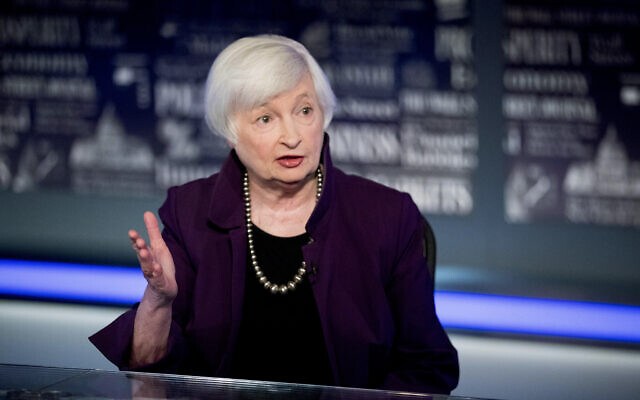 In this August 14, 2019, photo former Fed Chair Janet Yellen speaks with FOX Business Network guest anchor Jon Hilsenrath in the Fox Washington bureau in Washington. (AP Photo/Andrew Harnik, File)