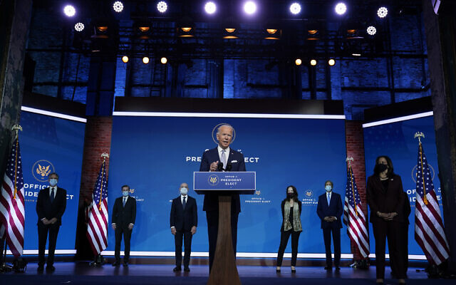 President-elect Joe Biden and Vice President-elect Kamala Harris introduce their nominees and appointees to key national security and foreign policy posts at The Queen theater, November 24, 2020, in Wilmington, Delaware. (AP Photo/Carolyn Kaster)