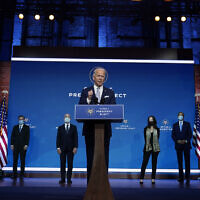 US President-elect Joe Biden and Vice President-elect Kamala Harris introduce their nominees and appointees to key national security and foreign policy posts at The Queen Theater, November 24, 2020, in Wilmington, Delaware. (AP Photo/Carolyn Kaster)