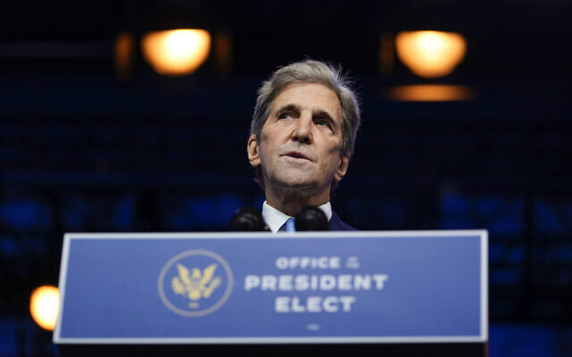US President-elect Joe Biden's climate envoy nominee former Secretary of State John Kerry speaks at The Queen theater, in Wilmington, Delaware, November 24, 2020. (Carolyn Kaster/AP)