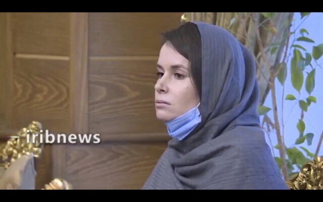 In this frame grab from Iranian state television video aired Wednesday, Nov. 25, 2020, British-Australian academic Kylie Moore-Gilbert is seen in Tehran, Iran. (Iranian State Television via AP)