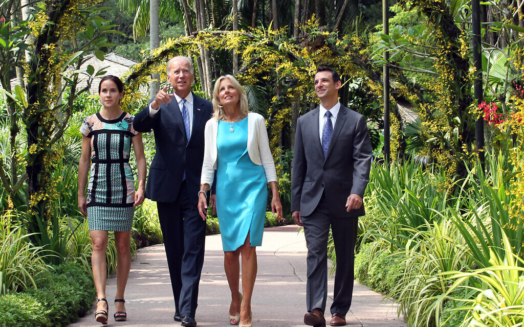 File: US vice president Joe Biden, second left, walks with his wife, Jill, second right, their daughter Ashley, left, and their son-in-law Howard Krein during their visit to the National Orchid Garden in Singapore, July 26, 2013. (AP Photo/Lau Fook Kong, The Straits Times)