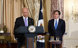 Hosts Vice President Joe Biden and Deputy Secretary of State Tony Blinken, delivers his remarks during a luncheon gathering in honor of Brazilian President Dilma Rousseff, Tuesday, June 30, 2015, at the State Department in Washington.    (AP Photo/Manuel Balce Ceneta)