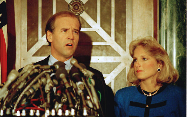 Then Sen. Joseph Biden Jr., Democrat-Delaware, holds a news conference in Washington to announce he is withdrawing from the Democratic race for the presidential nomination, September 23, 1987. (Ron Edmonds/AP)