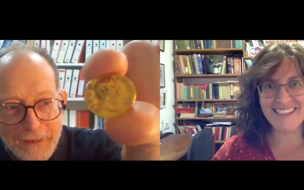 ToI's Amanda Borschel-Dan speaks with the head of the Israel Antiquities Authority's Coin Department Donald T. Ariel in the Behind the Headlines series. (screenshot)