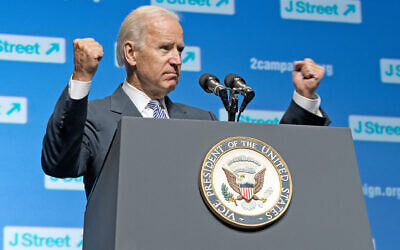 US Vice President Joe Biden addresses the 4th National J Street Conference at the Washington Convention Center in Washington, DC, on September 30, 2013. (Ron Sachs/J Street)